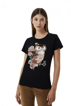LIU JO Rhinestone and sequin owl t-shirt