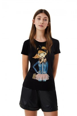 LIU JO Sequined and rhinestone print t-shirt
