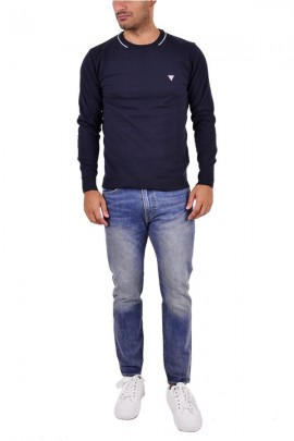 GUESS Crewneck Pullover mit Paspelierung - BLAU