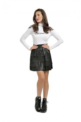 GUESS Short faux leather pleated skirt - BLACK