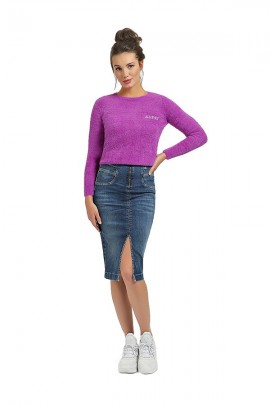 GUESS Sweater with fur and rhinestone logo - VIOLA