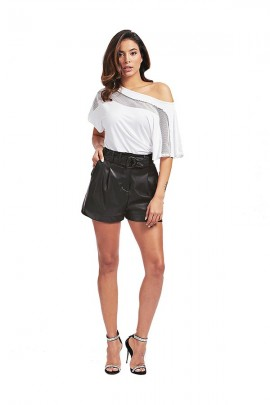 GUESS Short corto in ecopelle e cintura