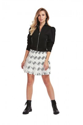 GUESS Short pleated skirt and logo - WHITE