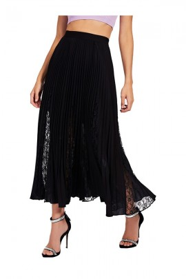 GUESS Long pleated skirt and lace - BLACK
