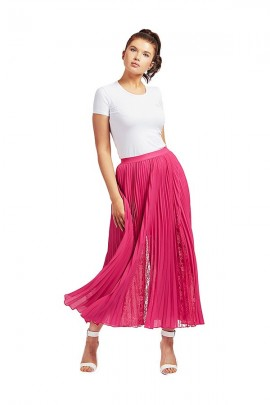 GUESS Long pleated skirt and lace - VIOLET