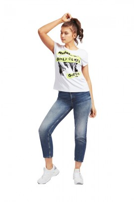 GUESS T-shirt logo e paillettes