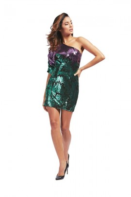 GUESS One-shoulder glitter dress