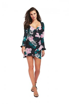 GUESS Short floral long sleeve dress