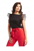 GUESS Sleeveless t-shirt with polka dot tulle ruffle