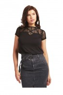 GUESS T-shirt with neckline and lace sleeves