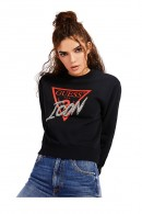 GUESS Crewneck sweatshirt with logo and rhinestones