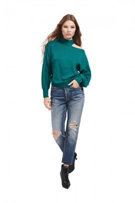GUESS Laminated turtleneck sweater - VERDE