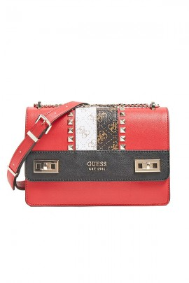 GUESS Small satchel with studs and logo band
