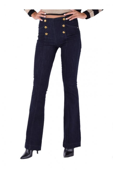 KOCCA High waisted jeans with gold buttons and paw
