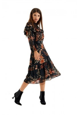 RINASCIMENTO Floral dress with lace and belt - BLACK