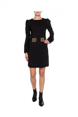 RINASCIMENTO Rhinestone logo dress and long sleeves
