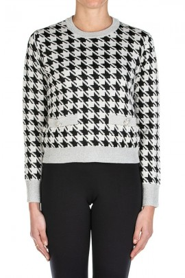 KAOS Patterned sweater and lurex crewneck