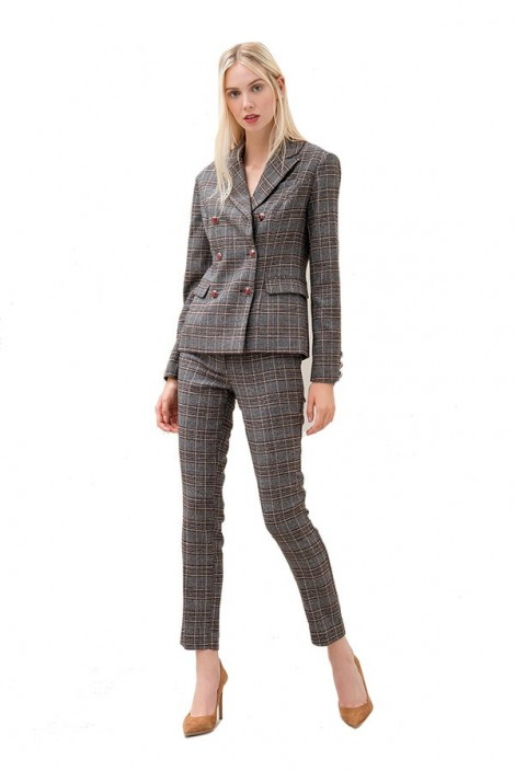 FRACOMINA Double-breasted checkered jacket