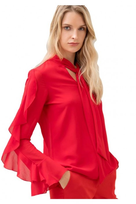 FRACOMINA Blouse with ruffle sleeves and neck bow