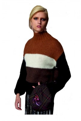 WHITE WISE Wide striped sweater - BROWN