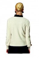 WHITE WISE Rhombus retipoint sweater