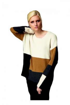 WHITE WISE Sweater with stripes - WHITE