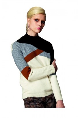 WHITE WISE Patterned turtleneck sweater