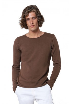 IMPERIAL Raw cut crew neck sweater - BROWN