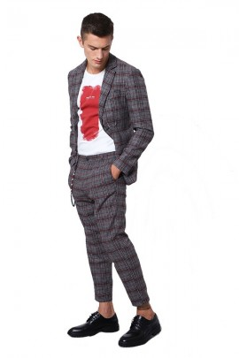 IMPERIAL Checked trousers with penze - GREY