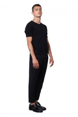 IMPERIAL Trousers with low crotch and chain - BLACK