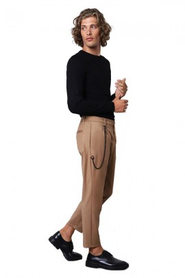 IMPERIAL Trousers with low crotch and chain - BEIGE