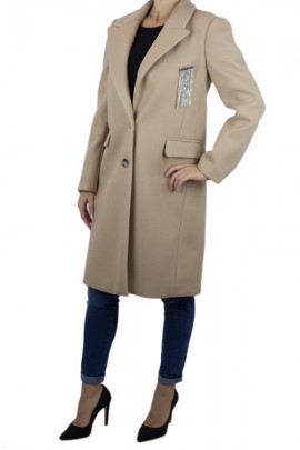 KAOS Long coat with rhinestone brooch