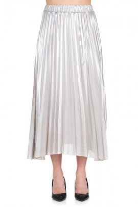 KAOS Long laminated pleated skirt