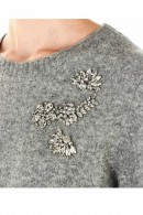 KAOS Crewneck sweater and flowers in stones and stras