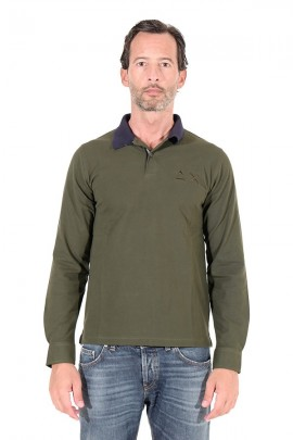 SUN 68 Polo shirt with contrasting collar - VERDE