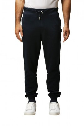 SUN 68 Fleece trousers with cuff and contrast - BLUE