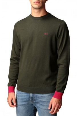 SUN 68 Sweater with patches and cuff in contrast - BORDEAUX