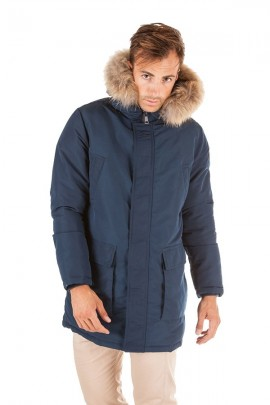 CENSURED Long jacket with hood and fur - BLUE