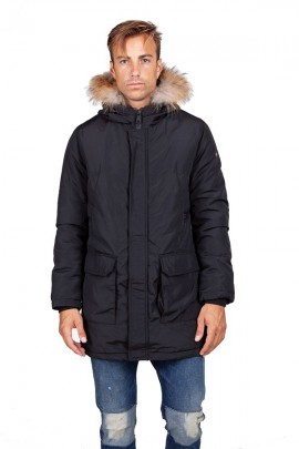 CENSURED Long jacket with hood and fur - BLACK