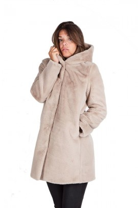 CENSURED Long faux fur with hood - WHITE