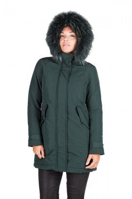 CENSURED Women's parka in technical fabric and fur