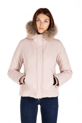 CENSURED Short jacket with hood and fur