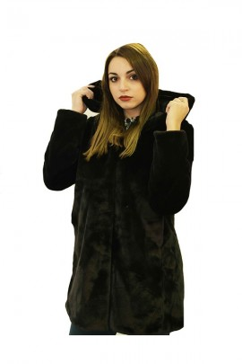 CENSURED Long faux fur with hood - BLACK