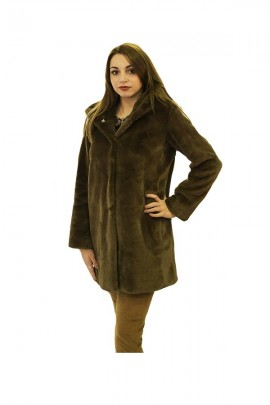 CENSURED Long faux fur with hood - BROWN