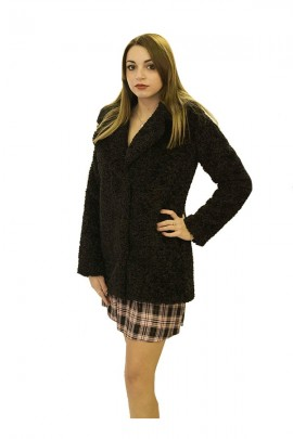 CENSURED Curly fur with hood - BLACK