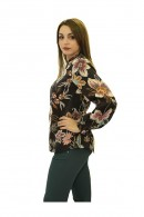 KOCCA Round-neck curled floral blouse