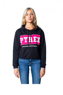 PYREX Short sweatshirt with logo band and hood