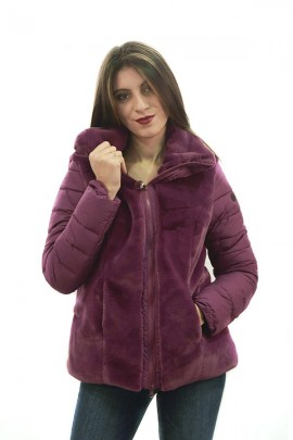 CENSURED Faux fur with quilted nylon sleeves - VIOLA
