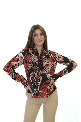 FRACOMINA Floral blouse and neck ruffle