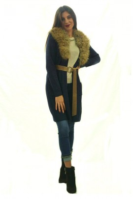 FRACOMINA Cardigan in laminated knit and fur collar
